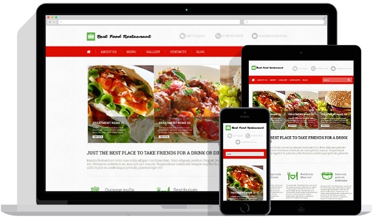 Mobile Friendly & Responsive Website Design For Restaurant (Multi Display)