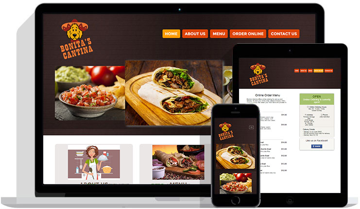 Restaurant website design with online ordering table